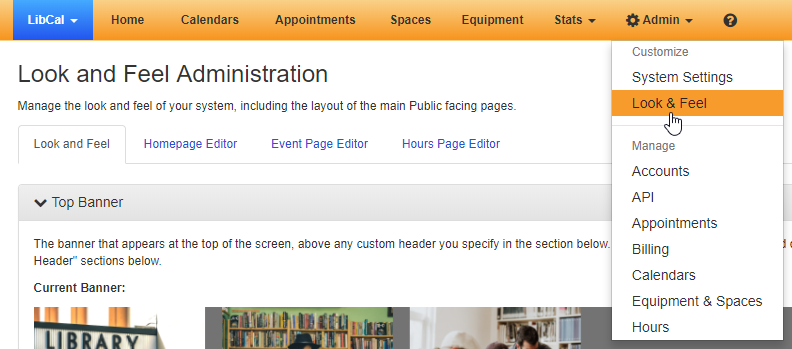 Navigating to the Look and Feel page from the Admin menu