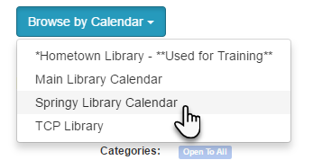 Example of a button-style Calendar List content item