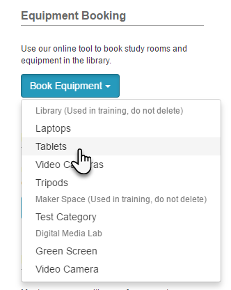 Example of a button-style Equipment Booking List content item