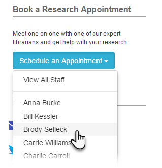 Example of a button-style Appointments List content item