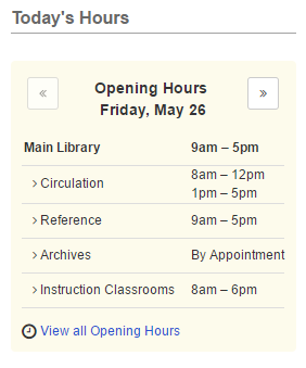 Example of a Opening Hours content item displaying today's hours