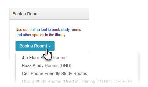 Example of a button-style Room Booking List content item