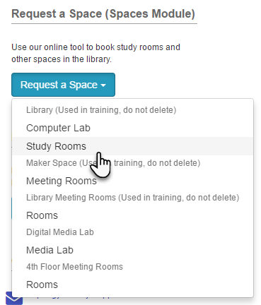 Example of a button-style Space Booking List content item