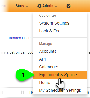 Navigating to the Equipment & Spaces admin page