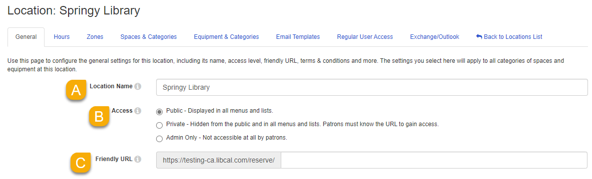 location name, access, K12 features, and friendly URL settings