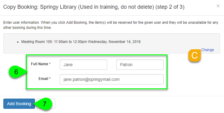 The booking form fields and Add Booking button
