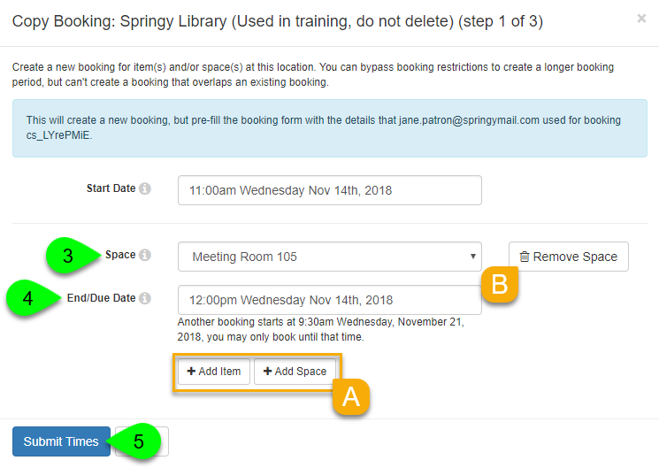 Options to select and submit booking times