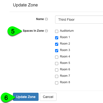 Adding spaces to a zone from the Update Zone modal
