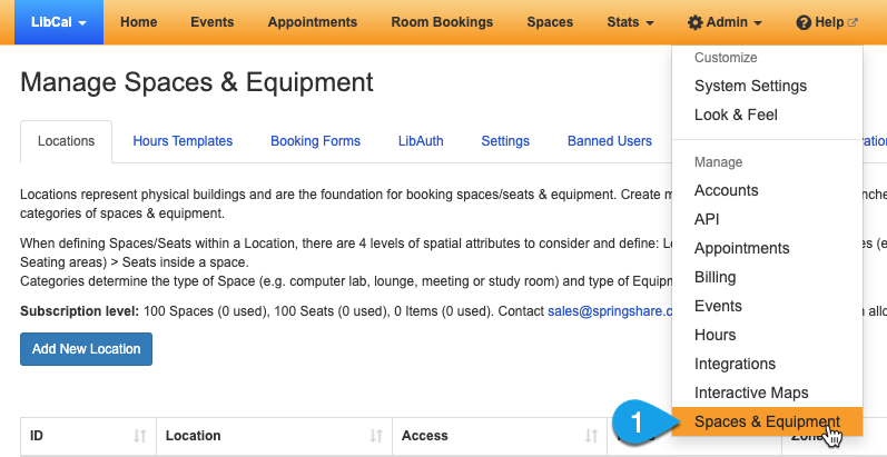 Getting to the Manage Locations page for Equipment & Spaces