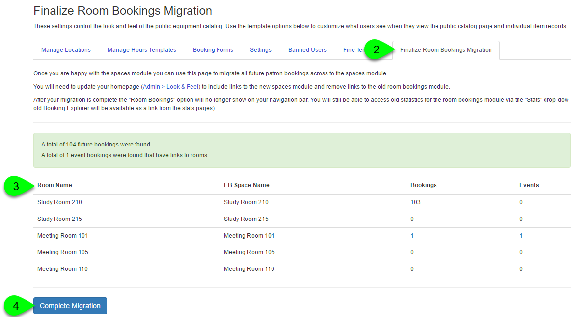 Example of finalizing the room bookings migration