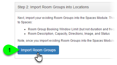 Screenshot of the Import Room Groups button