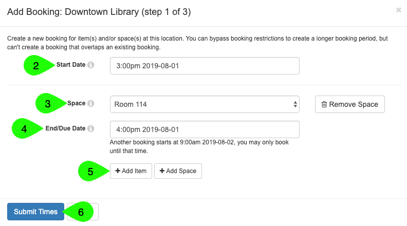 Example of adding a booking