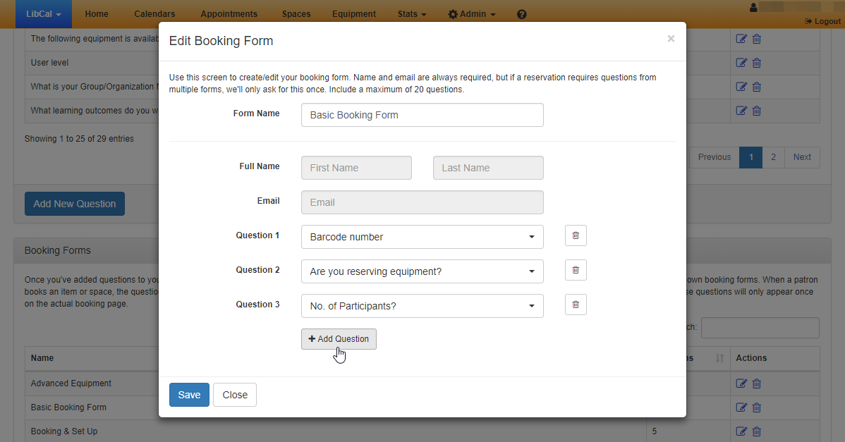 Example of adding questions to a booking form