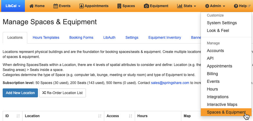 Navigating to the Manage Equipment & Spaces page from the Admin menu