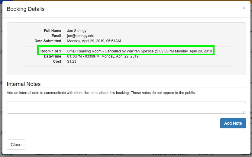 Example of cancelled booking's booking details