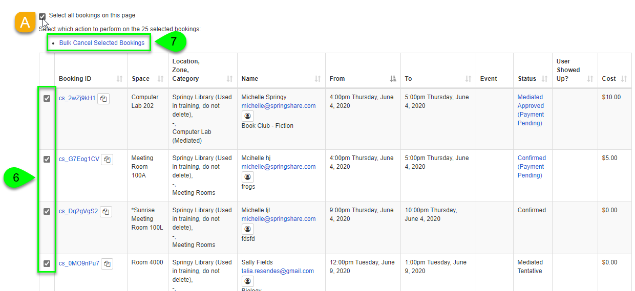 Options to bulk cancel bookings on the Booking Explorer page