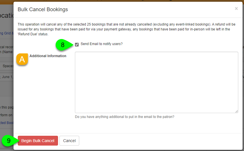 Options to email users on the Bulk Cancel Bookings modal