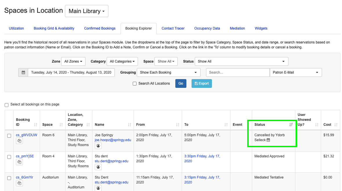Example of cancelled bookings in the booking explorer