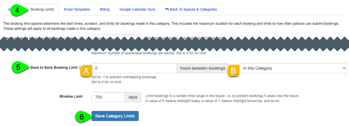 The Back to Back Booking Limit options and Save Category Limits button