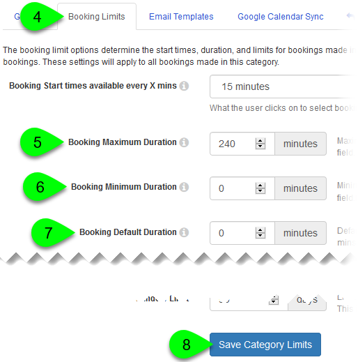 The Booking Maximum, Minimum, and Default Duration fields, and Save Category Limits button