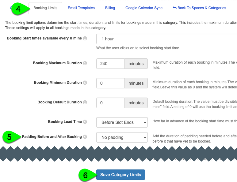 The Padding after Booking field and Save Category Limits button