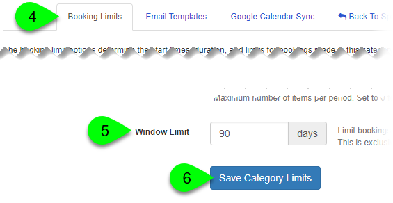 The Window Limit field and Save Category Limits button