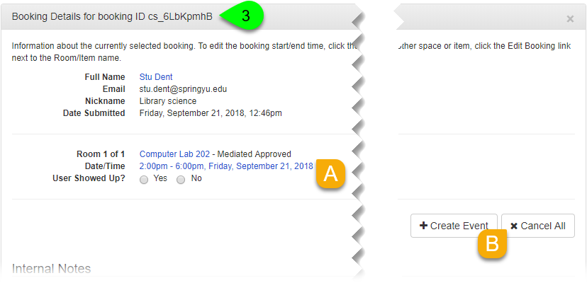 Options to cancel a booking in the Booking Details panel