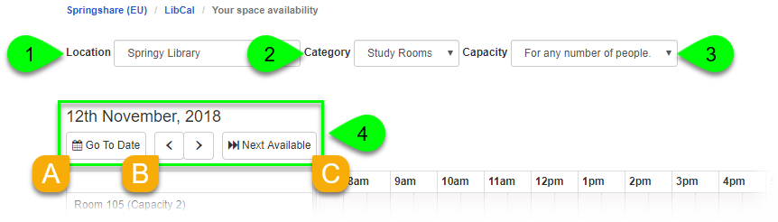 Location, Category, Capacity, and date navigation options