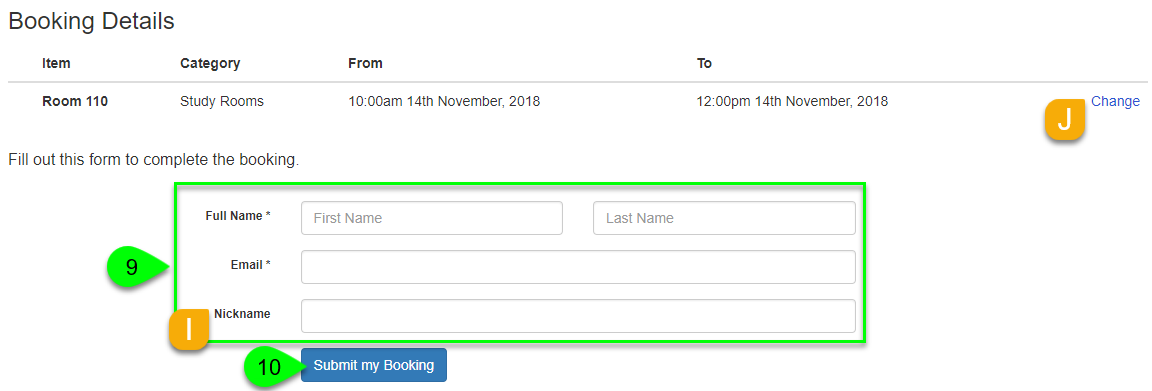 Submitting a booking form