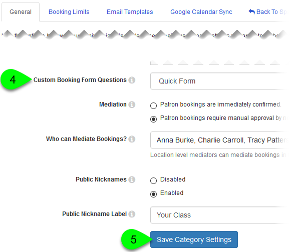 The Custom Booking Form Questions field and Save Category Settings button