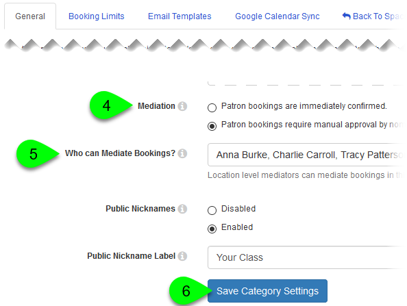 The Mediation field, Who can Mediate Bookings dropdown, and Save Category Settings button