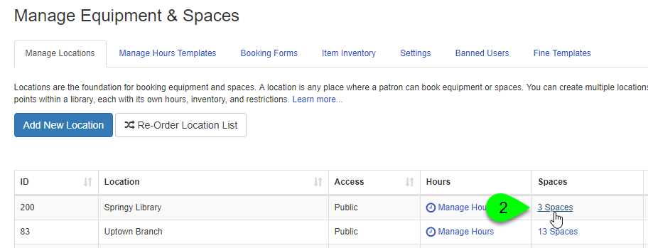 Clicking on a location's Spaces link under the Manage Locations tab