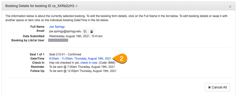 a date/time link in the booking details panel