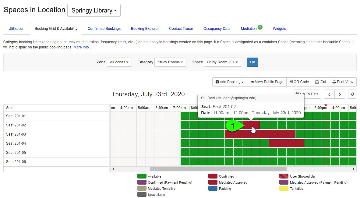 Example of clicking on a booking to view its details