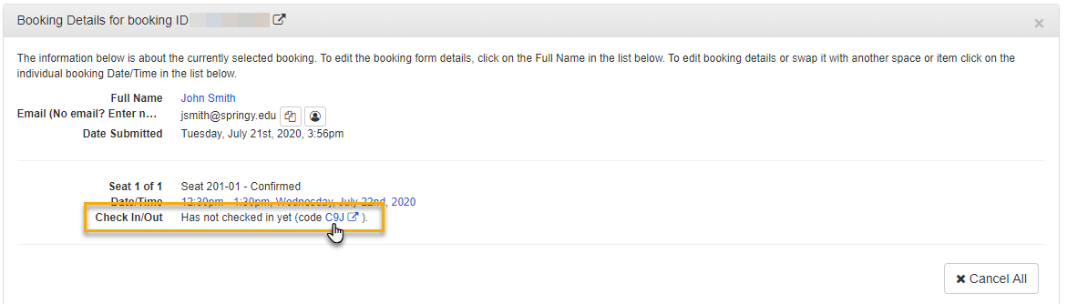 a check-in link in the booking details panel