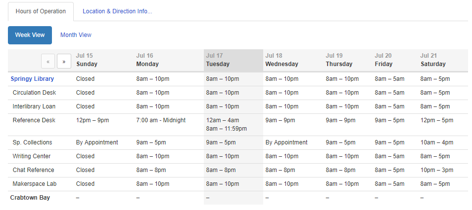 Example of a Combination Weekly/Monthly View widget