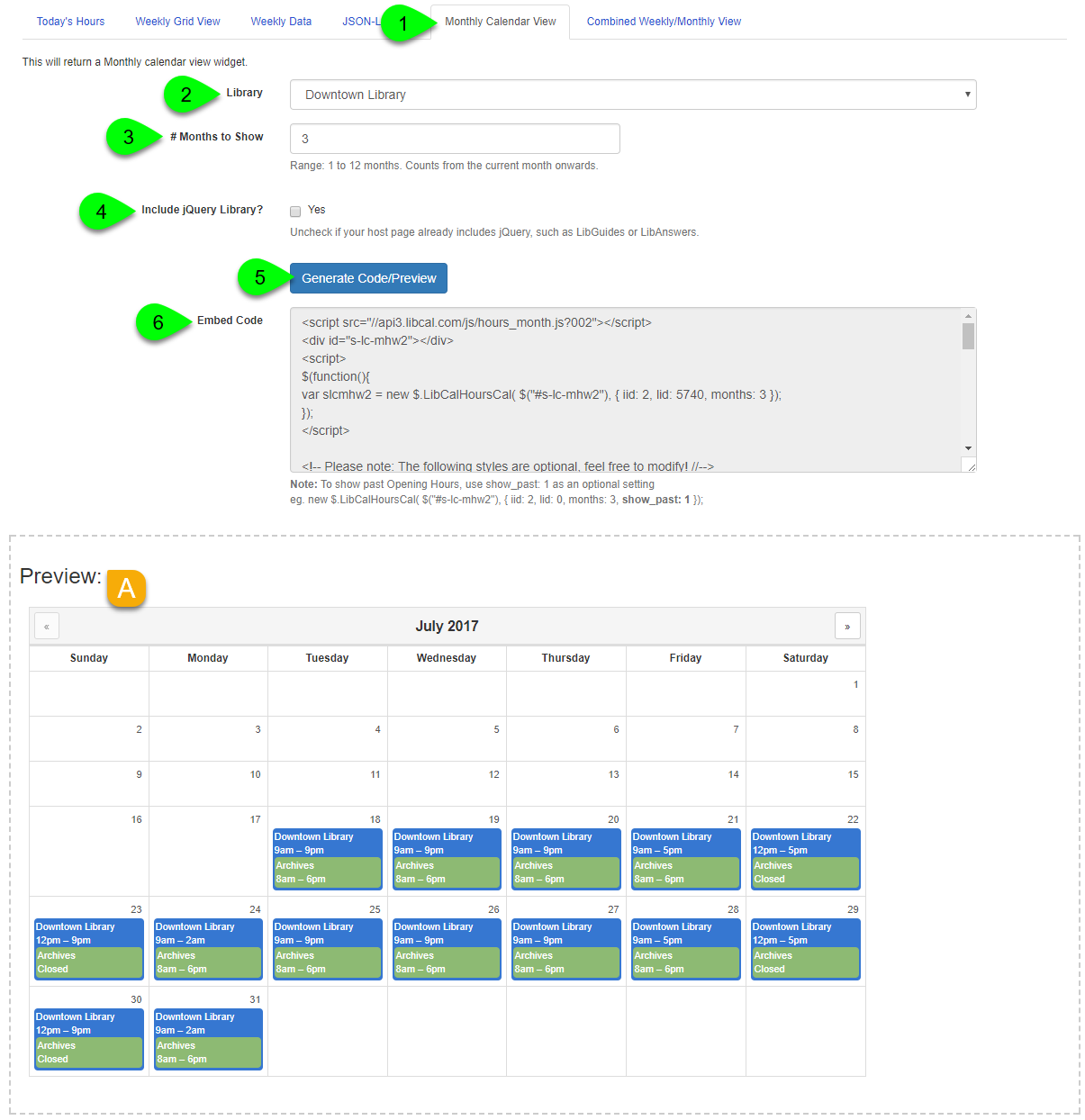 Example of creating a monthly calendar widget