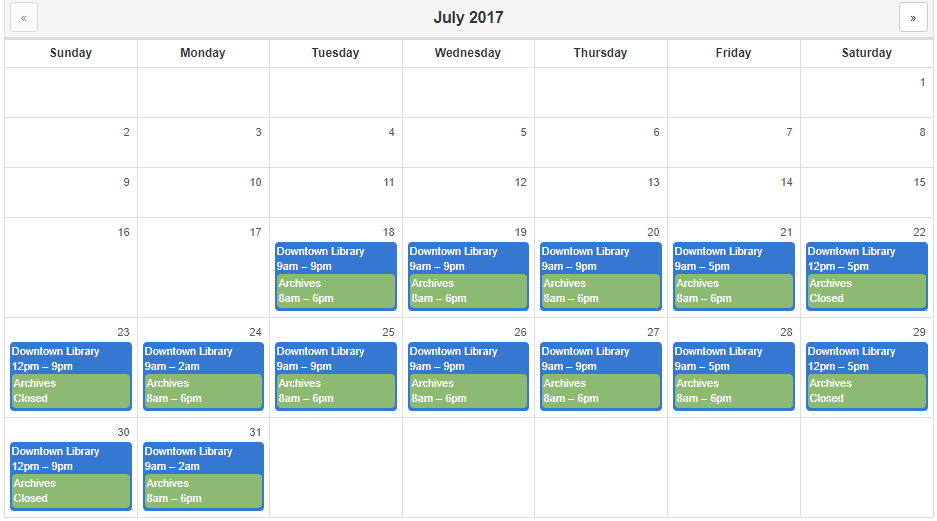 Example of a Monthly Calendar View widget