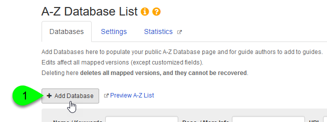 Clicking the Add Database button on the A-Z Database List page