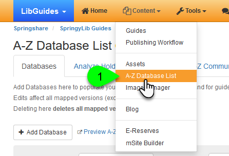 Selecting A-Z Database List from the Content menu