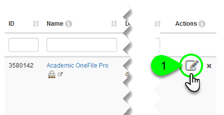 A database's edit icon in the Actions column