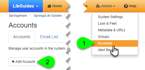 Clicking the Add Account button under the Accounts tab