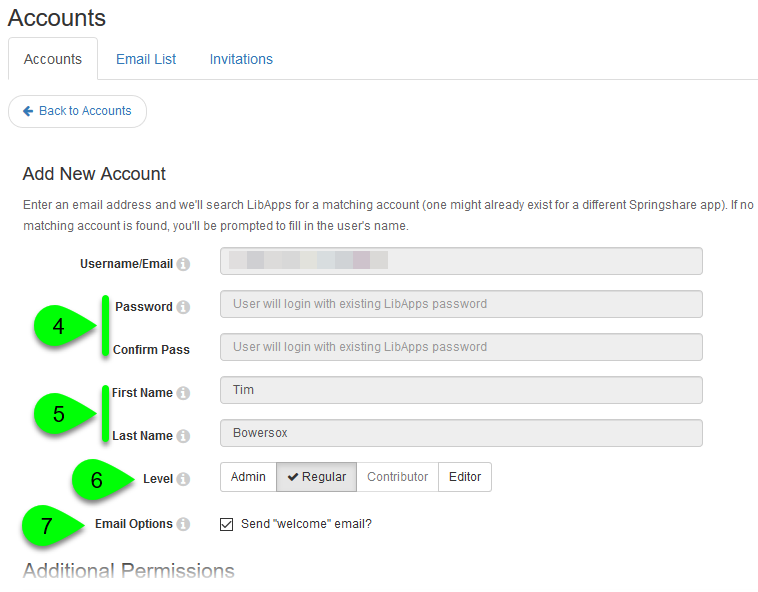 Selecting the account level for an existing LibApps account