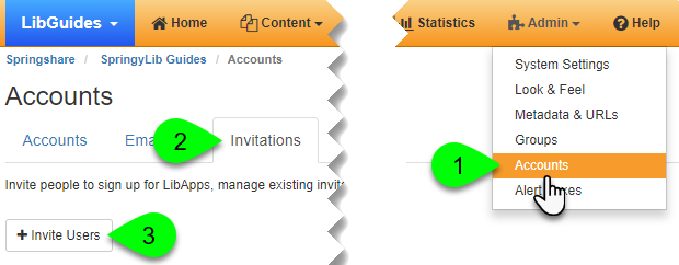 The Invite Users button under the Invitations tab
