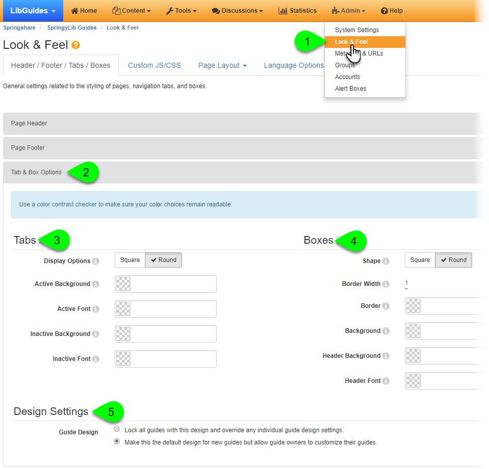 Customizing Tab & Box Options