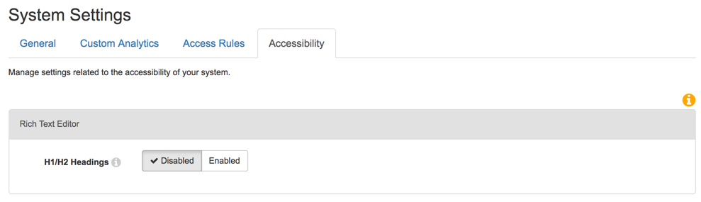 Accessibility tab of the system settings