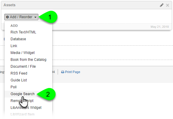 Selecting Google Search from the Add/Reorder dropdown