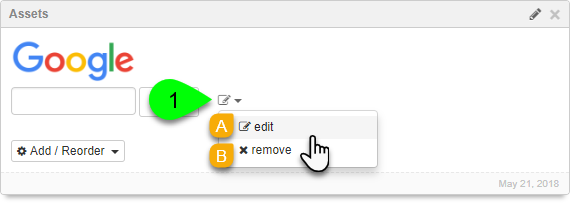 Options for editing a Google Search asset