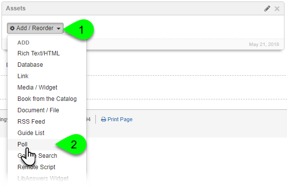 Selecting Poll from the Add/Reorder dropdown