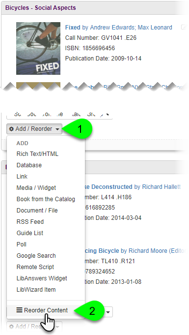 Selecting Reorder Content from Add/Reorder dropdown